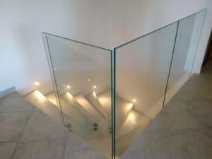 installation garde corps verre avec fixation par points