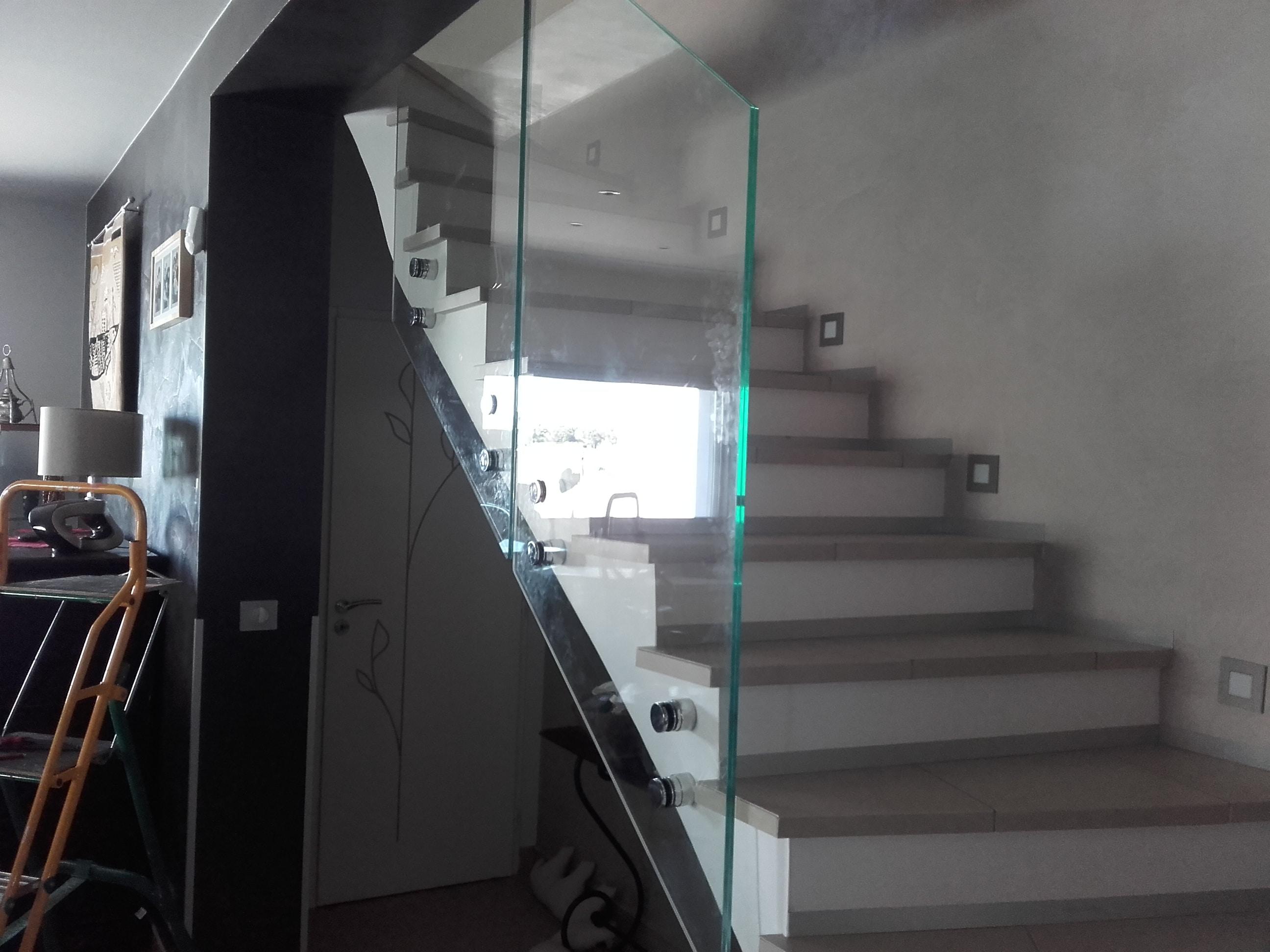 ballustrade d'escalier vitrée