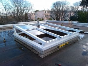 Installation toiture vitrée coulissante
