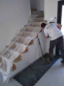 Préparation escalier Garde-corps fixation points